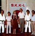 1986. Da sinistra: M° Nyjiama, M° Miura, sig.ra Catellani, sig. Catellani, M° Yamada, M° Sabbatini